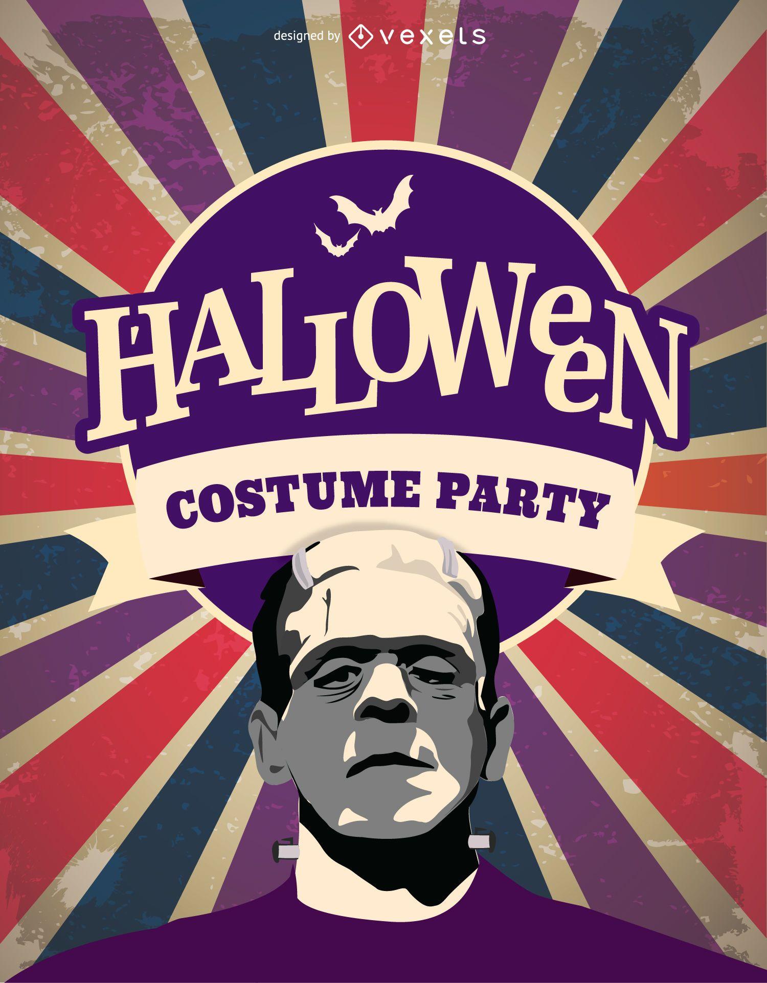 Halloween Frankenstein costume party invitation