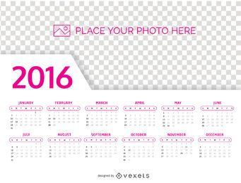 2016 calendario plantilla de la foto