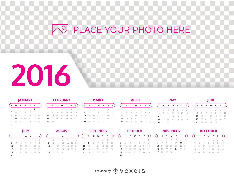 2016 Calendar photo template