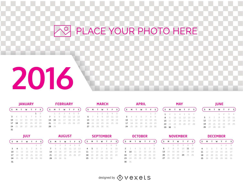 Plantilla de foto de calendario 2016