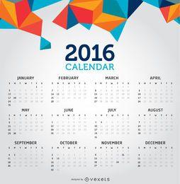 Calendário criativo limpo de 2016