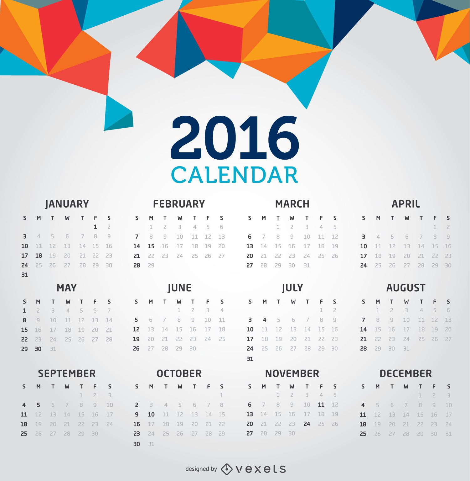 2016 calendario creativo limpio