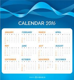 2016 Calendar over an abstract background
