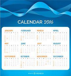 Calendario 2016 sobre un fondo ondulado