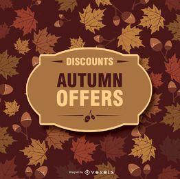 Fondo de otoño y placa