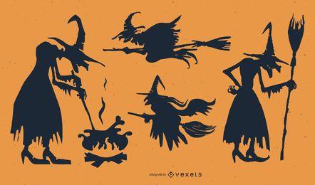 Conjunto de caracteres de bruja femenina siluetas
