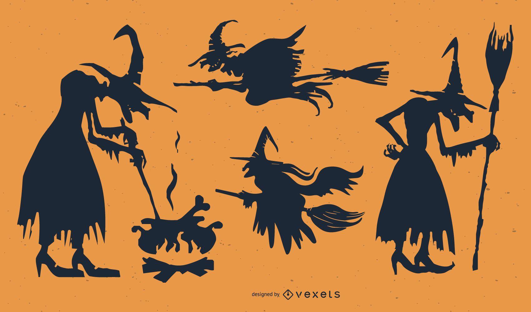 Silhuetas de conjuntos de personagens de bruxa feminina