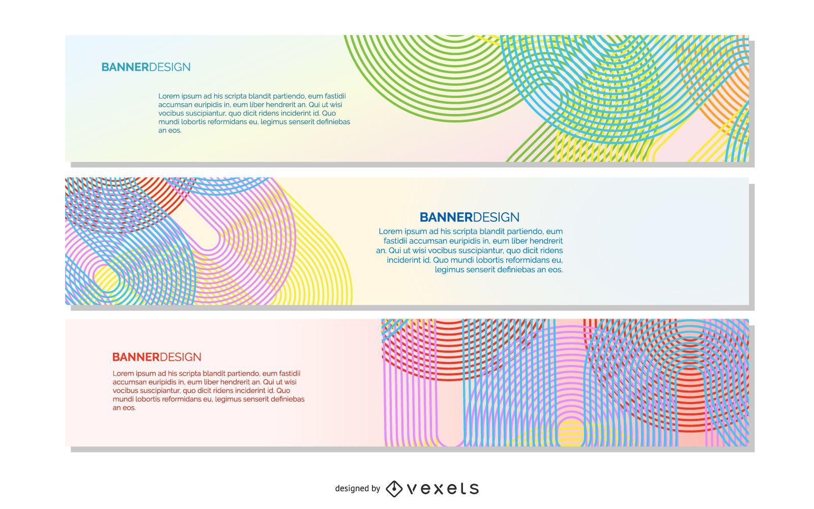 Conjunto de banner gris curvas coloridas