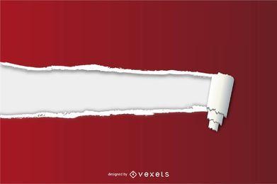 Papel rasgado vermelho com fundo de texto