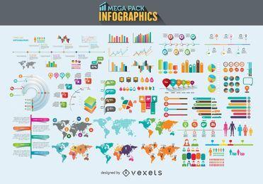 Mega paquete de elementos de infografía