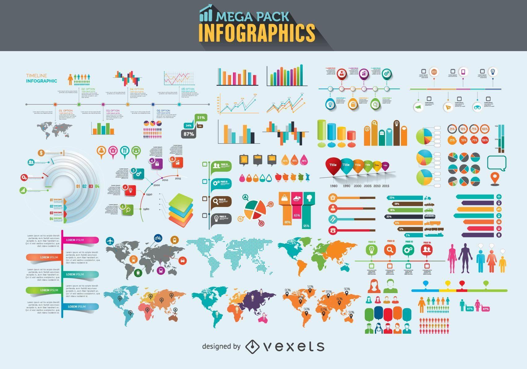 Mega pack de elementos de infografía