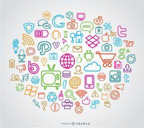 Iconos de medios de línea de trazo
