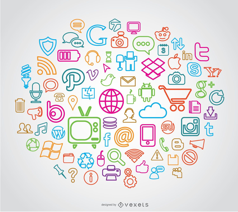 Stroke line media icons