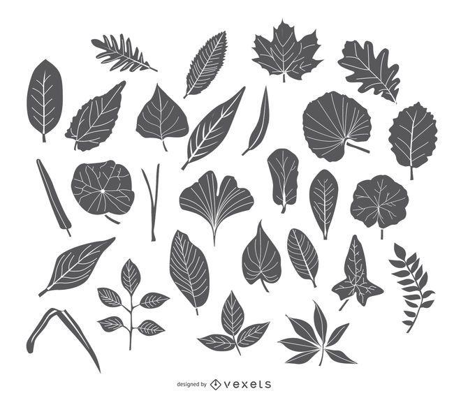 Stroke Leaves icon set
