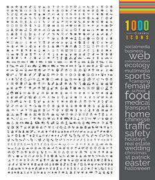 1000 flache Icons Mega-Bundle