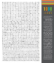 1000 iconos planos de mega paquete