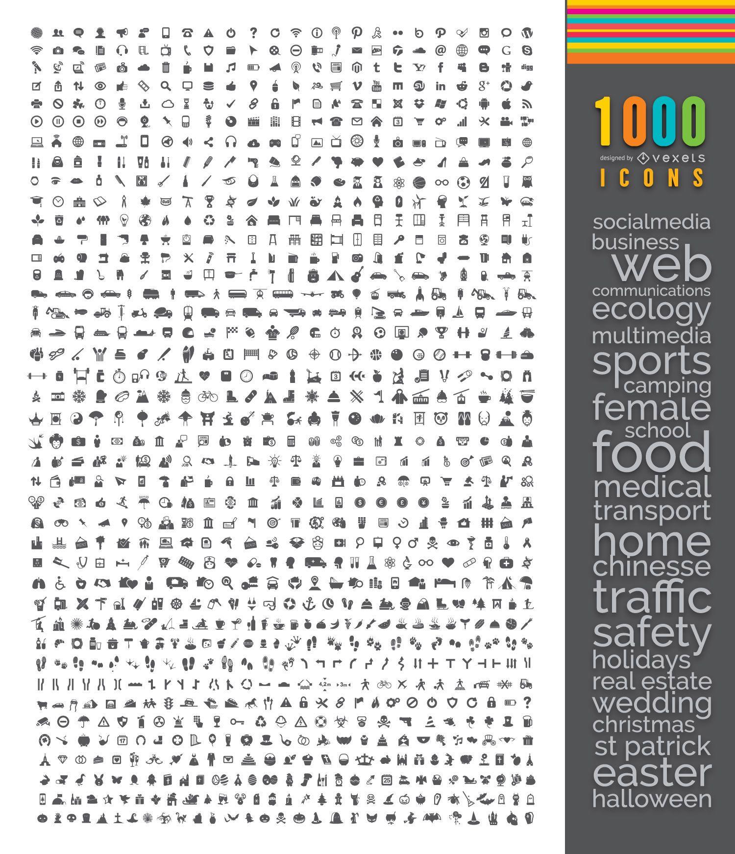 Mega pacote de 1000 ícones planos