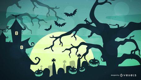 Fondo de la noche de Halloween espeluznante