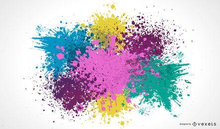 Salpicos de tinta colorida suja