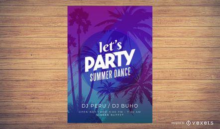 Cartaz colorido do partido das horas de verão