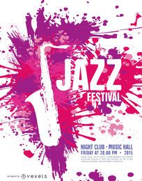 Music Jazz Festival Poster template with saxophone