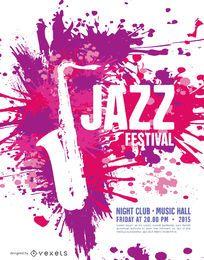 Plantilla de cartel de festival de jazz de música con saxofón