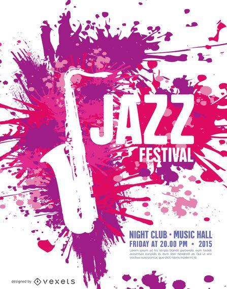 Modelo de cartaz de Jazz Music Festival com saxofone