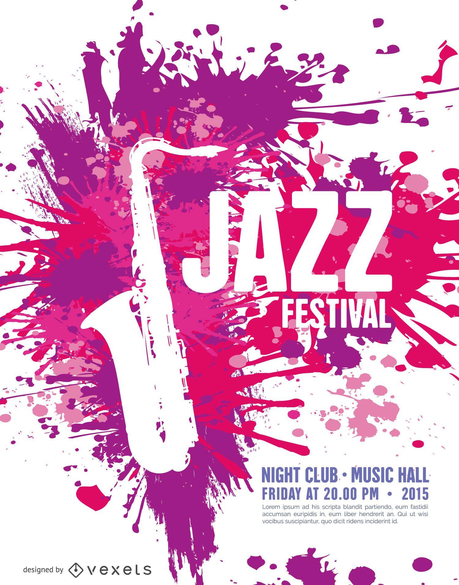 92895470e4558 Plantilla de cartel de festival de jazz de música con saxofón ...