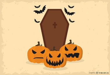 Halloween coffin illustration