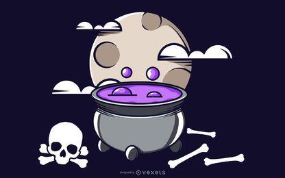 Flippiger Knochen schlägt Halloween-Hintergrund