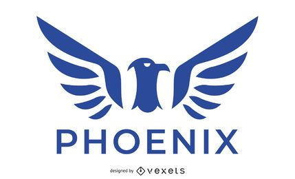 Logotipo do pássaro Phoenix azul