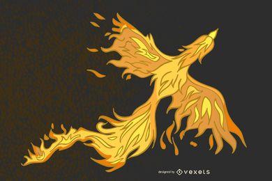 Pássaro Phoenix amarelo abstrato