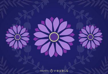 Fondo azul púrpura de las margaritas