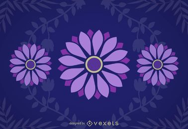 Purple Daisies Blue Background