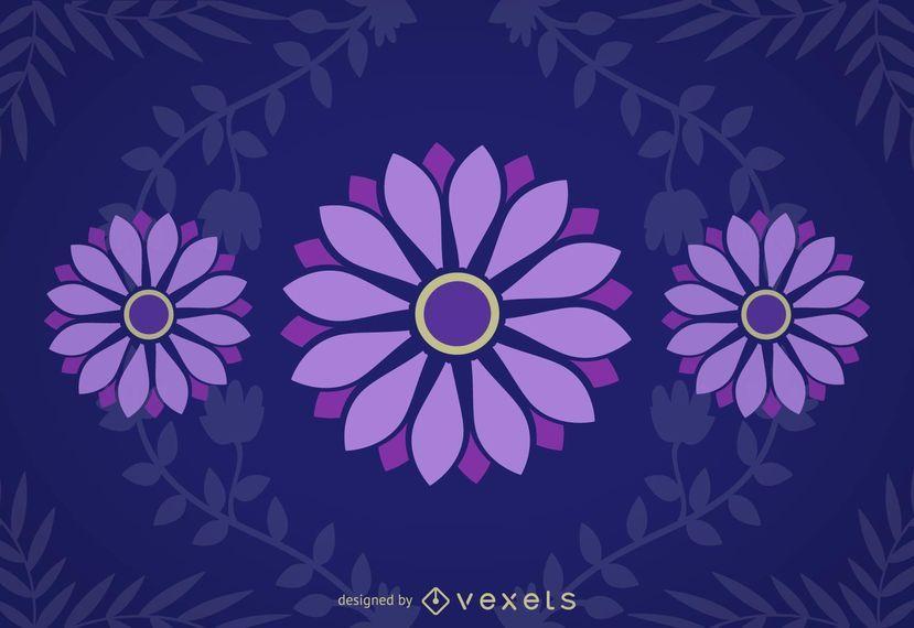 Purple Daisies Blue Background