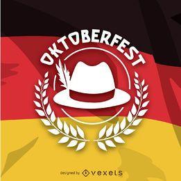 Logotipo de Oktoberfest sobre bandera alemana