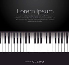 Piano keyboard vector with space for message
