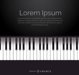 Vetor de teclado de piano com espaço para mensagem