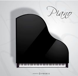 Opinião superior do piano de cauda do concerto