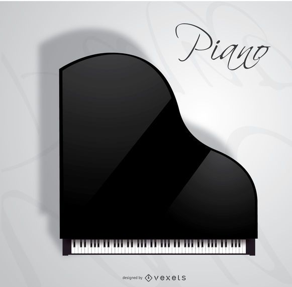 Vista superior de piano de cola de concierto