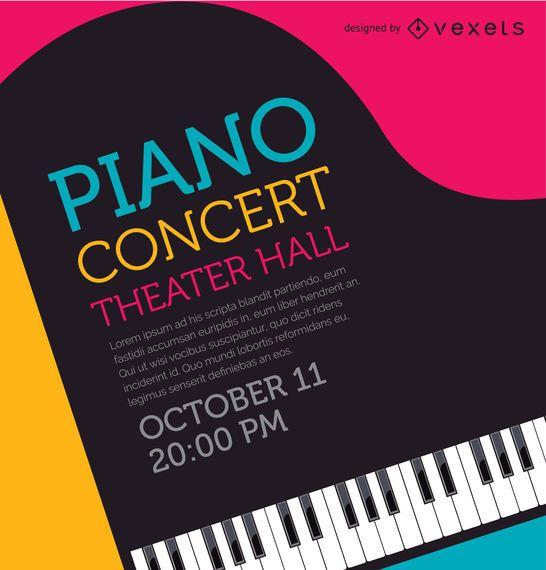 Cartel del concierto de piano musical