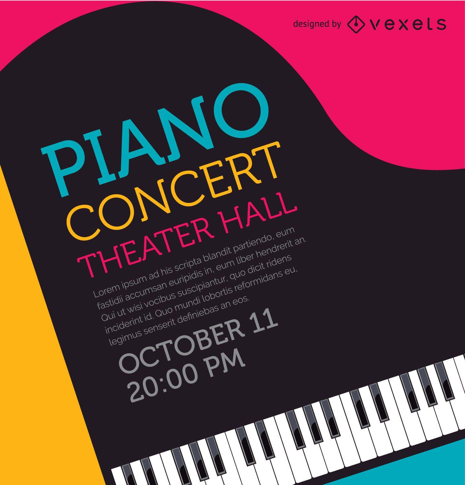Cartel de concierto de piano musical