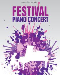 Music piano poster in cool paint splatter background