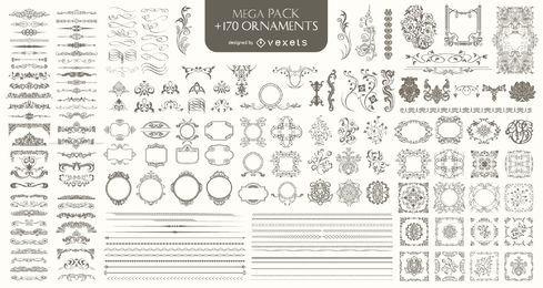 170 Ornamentos Mega Pack: Divisores, marcos, esquinas, bordes y más