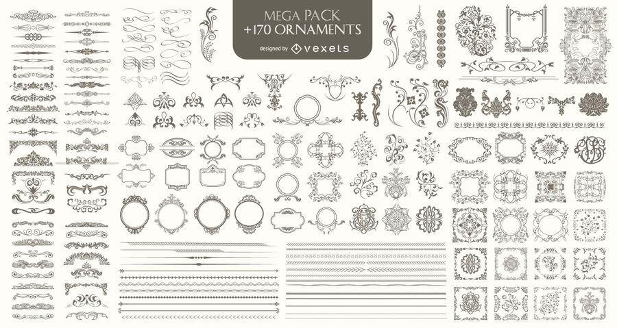 170 Ornaments Mega Pack: Divisores, molduras, cantos, bordas e muito mais
