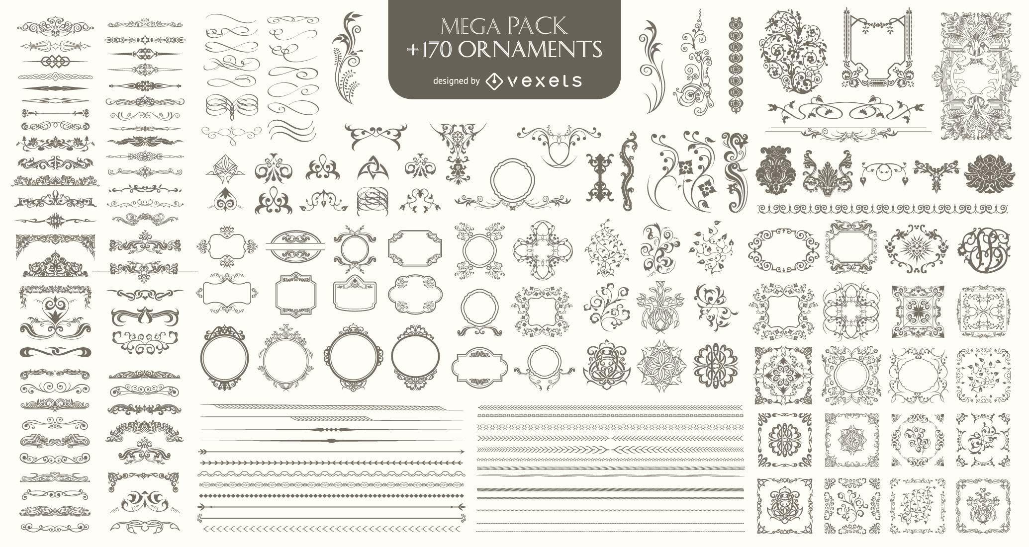170 Ornaments Mega Pack: Trennwände Rahmen Ecken Ränder und mehr