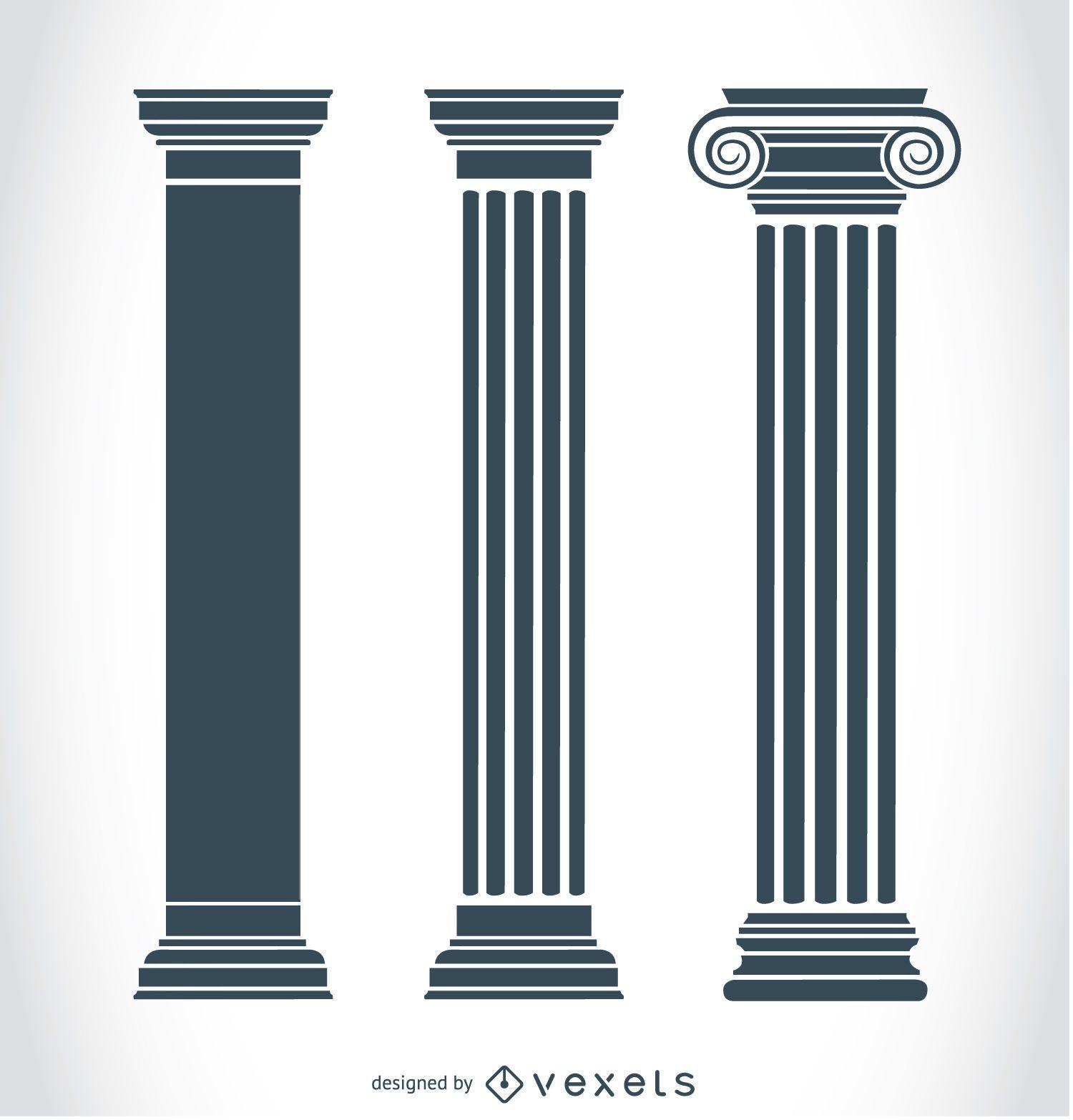 Pilares del griego cl sico descargar vector for Pilares y columnas