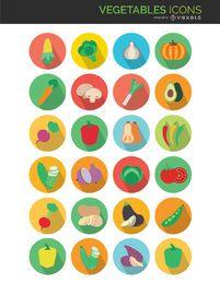 Iconos de verduras planas