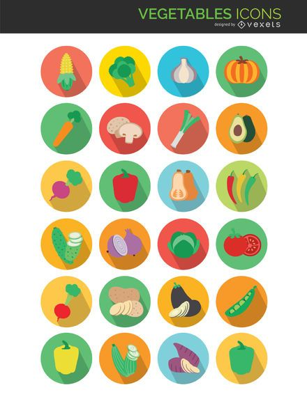 Flat vegetables icons