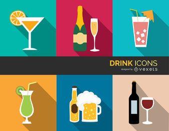 Ícones de bebidas coloridas